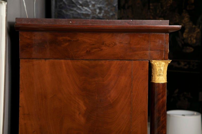 French Empire Flame Mahogany and Gilt Bronze Commode with Rouge Griotte For Sale 12