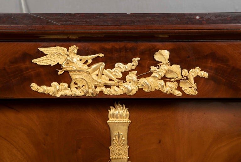 Early 19th Century French Empire Flame Mahogany and Gilt Bronze Commode with Rouge Griotte For Sale