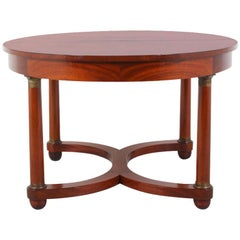 French Empire Flame Mahogany Oval Dining Table