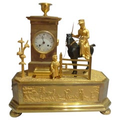 French Empire Genre Mantel Clock of an Arcadian Hunting Scene