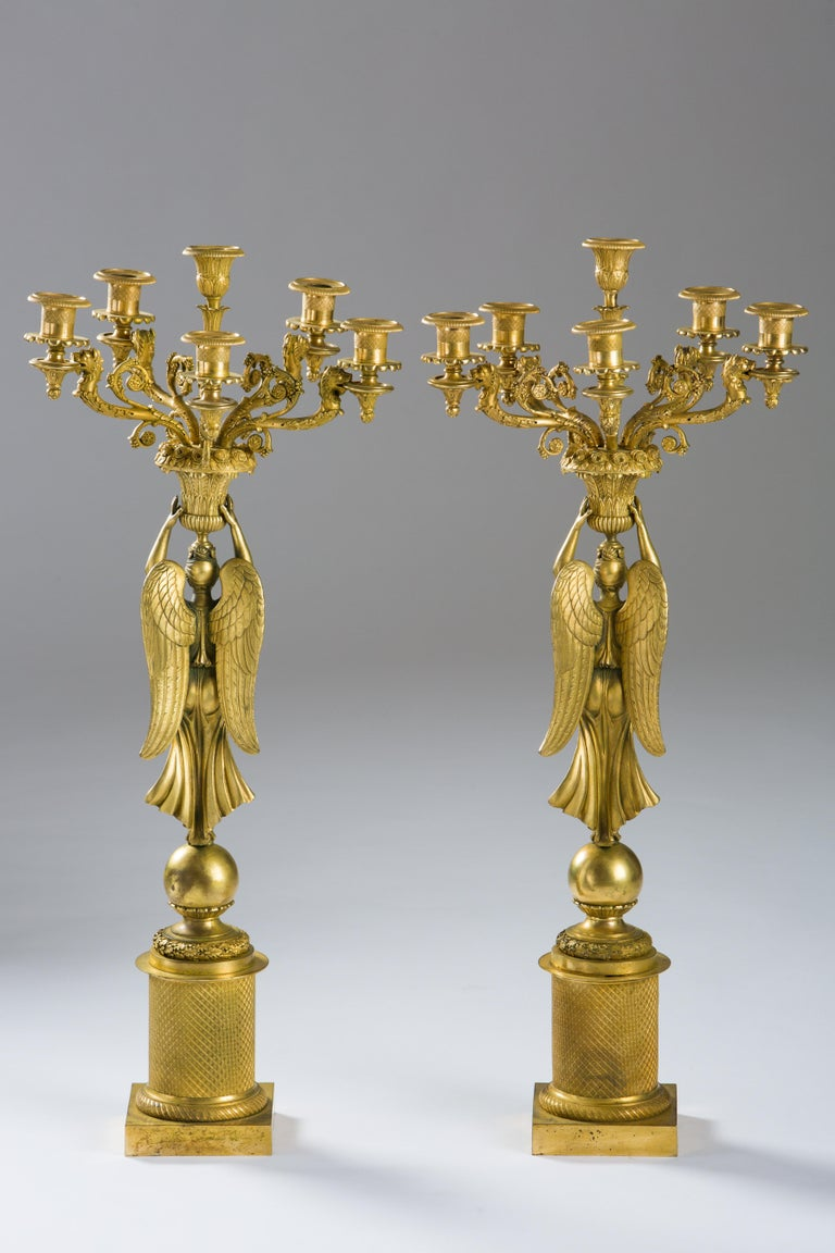 Patinated French Empire Gilded Bronze Candelabras, circa 1815 For Sale