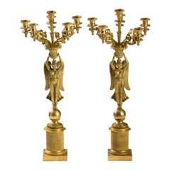 French Empire Gilded Bronze Candelabras, circa 1815