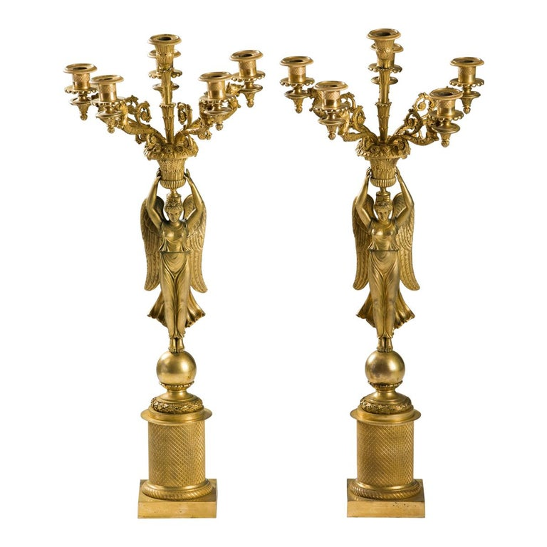 French Empire Gilded Bronze Candelabras, circa 1815 For Sale