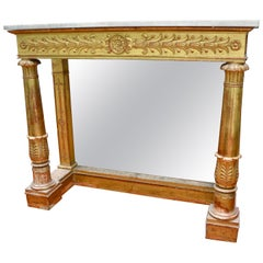 French Empire Gilded Wooden Console by the Famed Ebeniste Pierre Belange