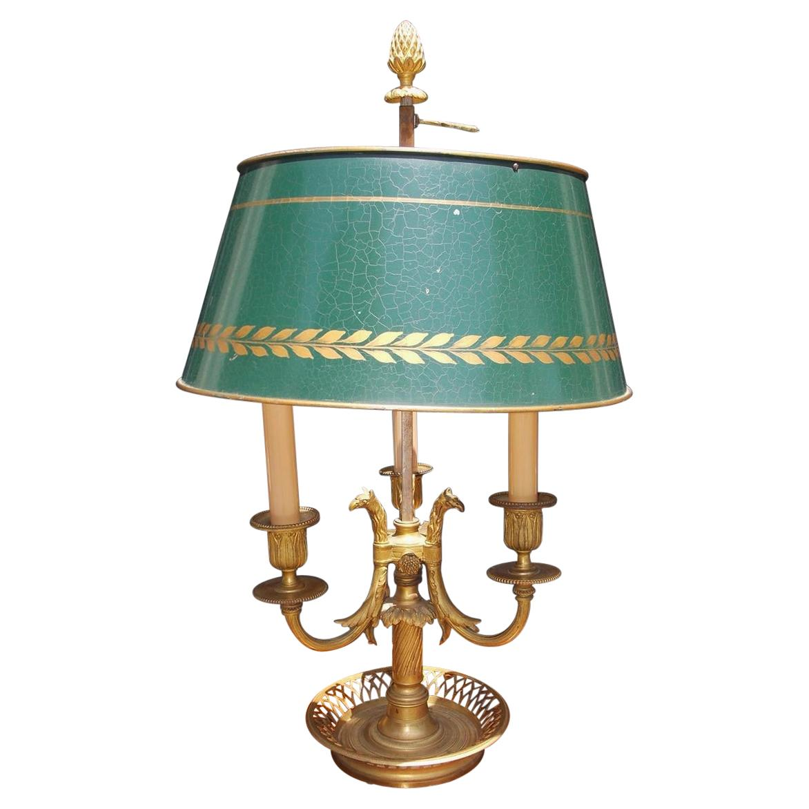 French Empire Gilt Bronze and Griffon Bouillotte Lamp with Tole Shade, C. 1820