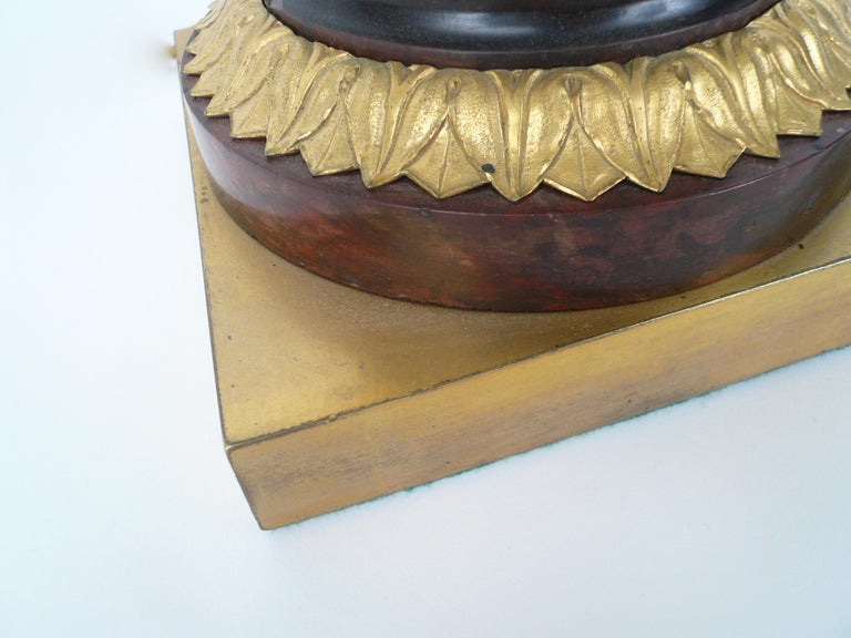 French Empire Gilt Bronze and Marble Figural Lamp Base For Sale 6