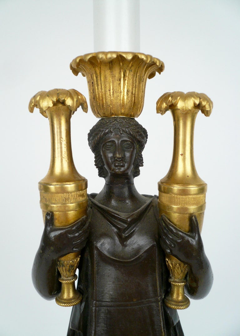 French Empire Gilt Bronze and Marble Figural Lamp Base For Sale 7