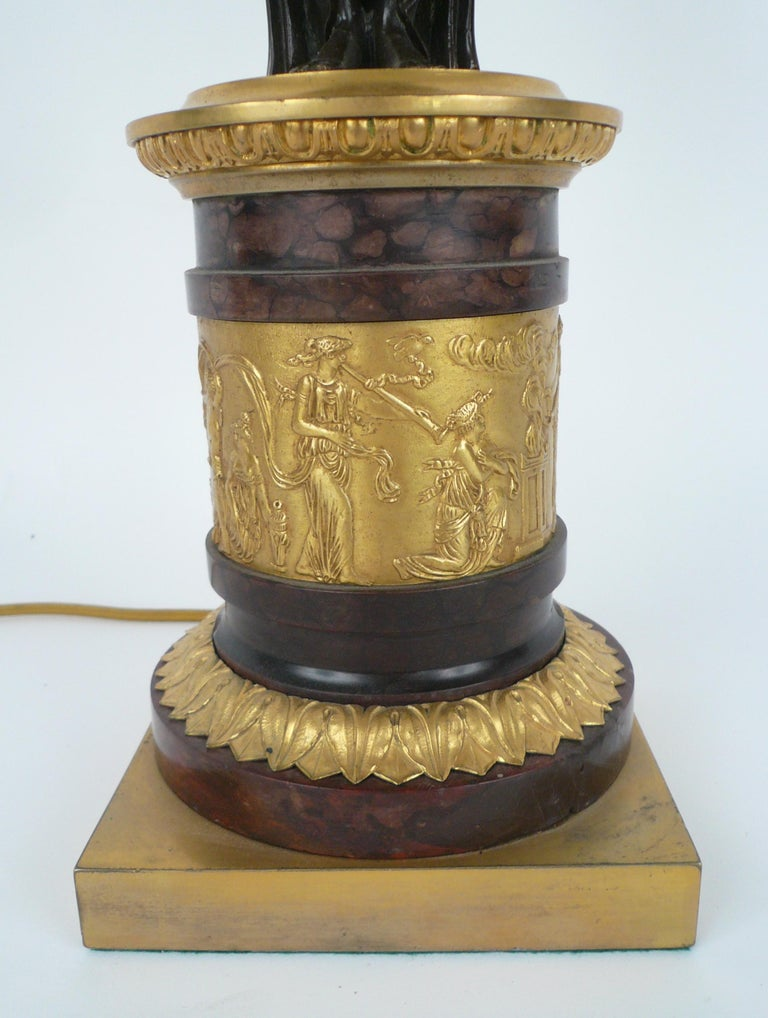 French Empire Gilt Bronze and Marble Figural Lamp Base In Good Condition For Sale In Pittsburgh, PA