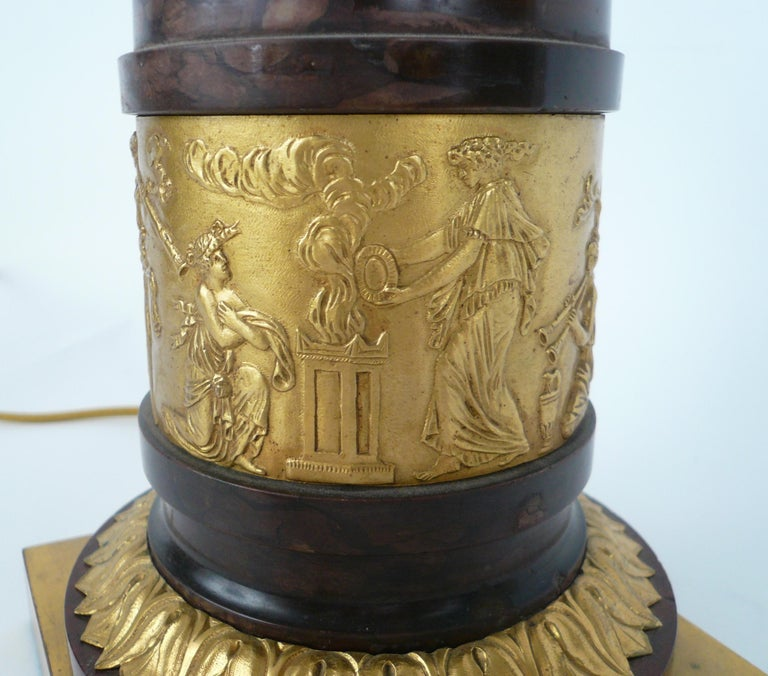 19th Century French Empire Gilt Bronze and Marble Figural Lamp Base For Sale