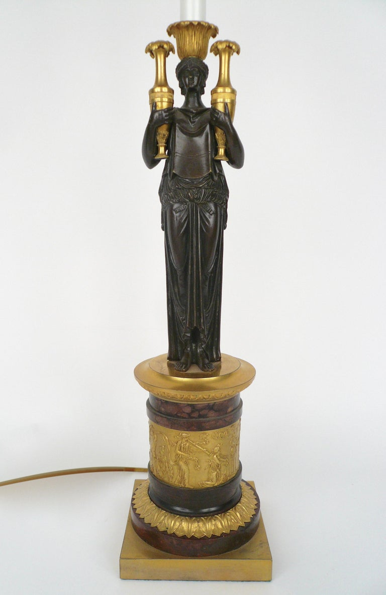 French Empire Gilt Bronze and Marble Figural Lamp Base For Sale 1