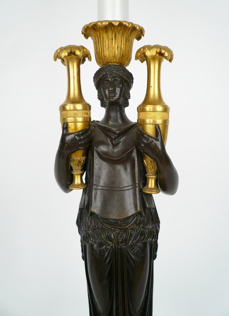 French Empire Gilt Bronze and Marble Figural Lamp Base For Sale 2