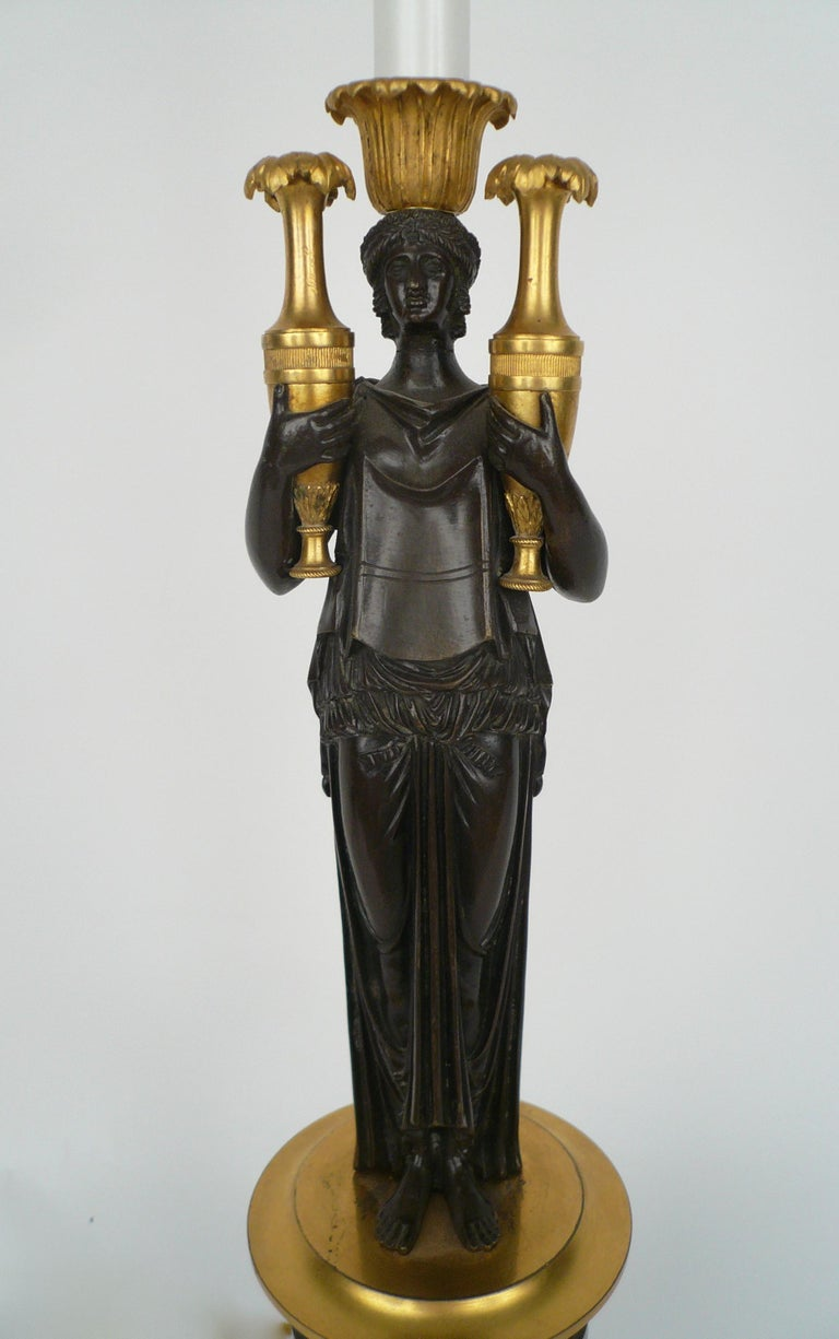 French Empire Gilt Bronze and Marble Figural Lamp Base For Sale 3