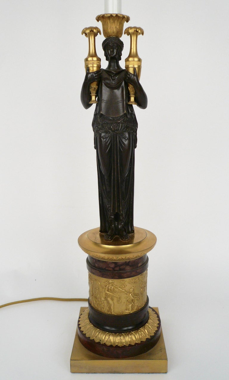 French Empire Gilt Bronze and Marble Figural Lamp Base For Sale 4