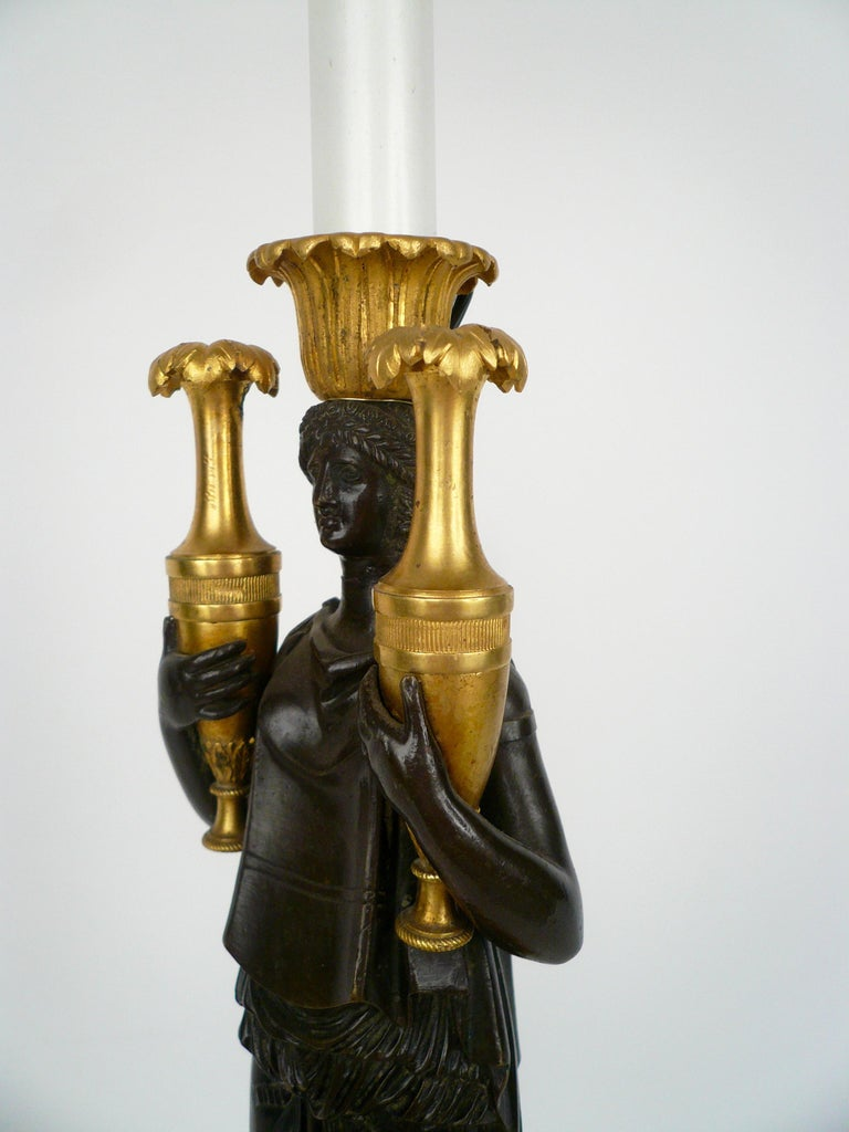 French Empire Gilt Bronze and Marble Figural Lamp Base For Sale 5