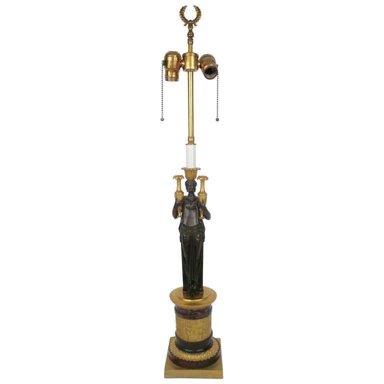French Empire Gilt Bronze and Marble Figural Lamp Base For Sale