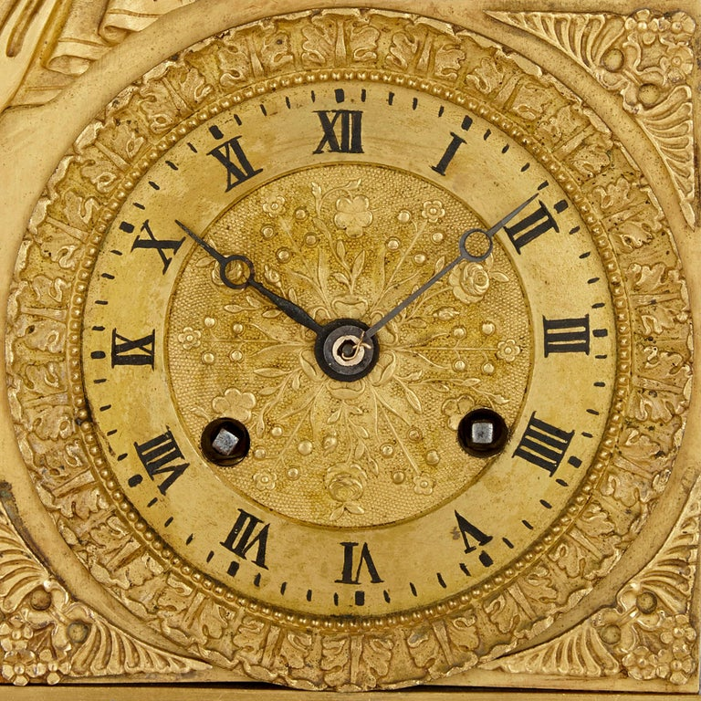 French Empire Gilt Bronze Clock In Good Condition For Sale In London, GB