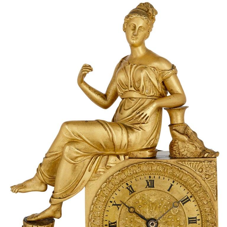 19th Century French Empire Gilt Bronze Clock For Sale