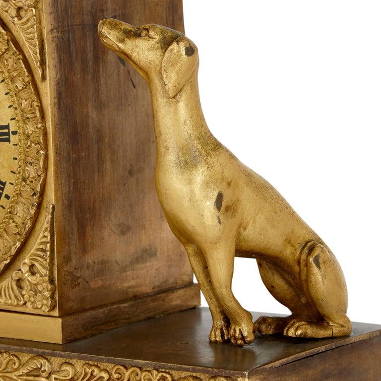 French Empire Gilt Bronze Clock For Sale 1