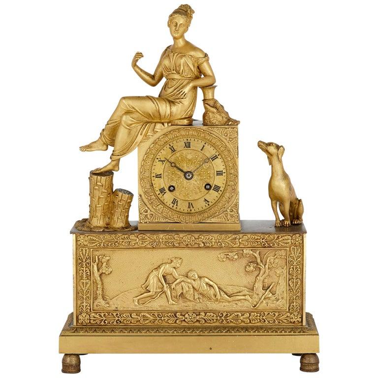 French Empire Gilt Bronze Clock For Sale