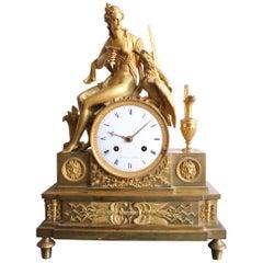 French Empire Gilt Bronze Clock of Hebé and the Eagle