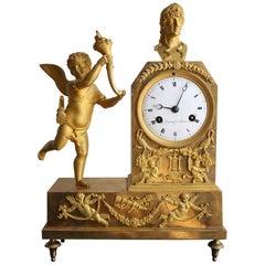French Empire Gilt Bronze Clock with Cherub