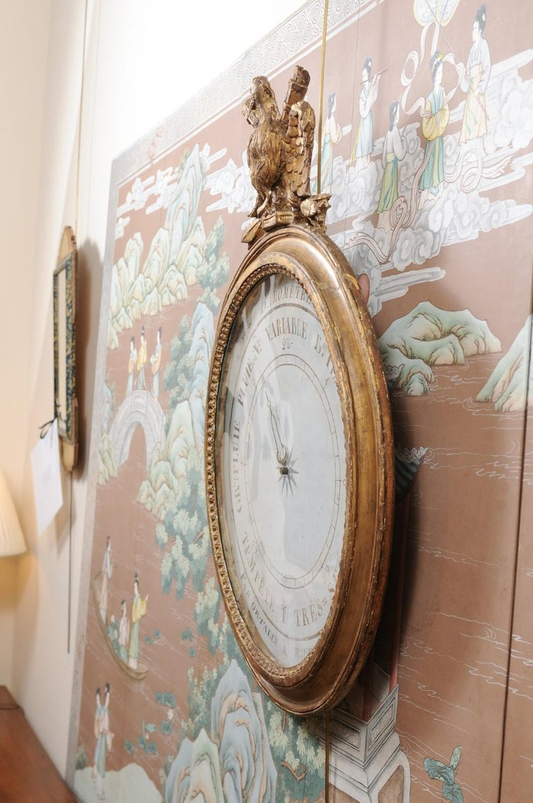 French Empire Giltwood Eagle Crested Barometer, Early 19th Century For Sale 5