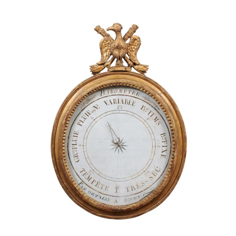 French Empire Giltwood Eagle Crested Barometer, Early 19th Century For Sale