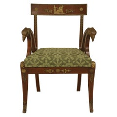 French Empire Green Armchairs