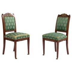 French Empire Green Damask Side Chairs
