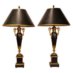 French Empire Green Gilt Tole Lamps, 19th Century