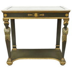 French Empire Green Painted Marble-Top Figural Console Hall Table