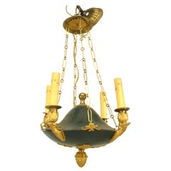 French Empire Green Tole Chandelier