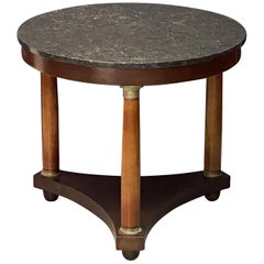 French Empire Gueridon or Round Table of Mahogany with Marble Top