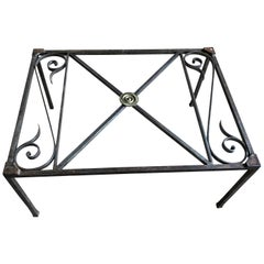 French Empire Iron And Glass Coffee Table