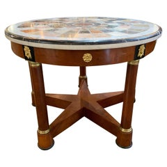 French Empire Mahogany and Ebony Center Table with Specimen Marble Top