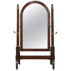French Empire Mahogany and Gilt Metal with Candles Cheval Mirror, circa 1810