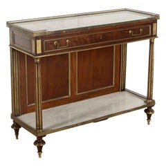 French Empire Mahogany and Marble Console Table
