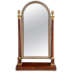 French Empire Mahogany and Ormolu Mounted Cheval Mirror
