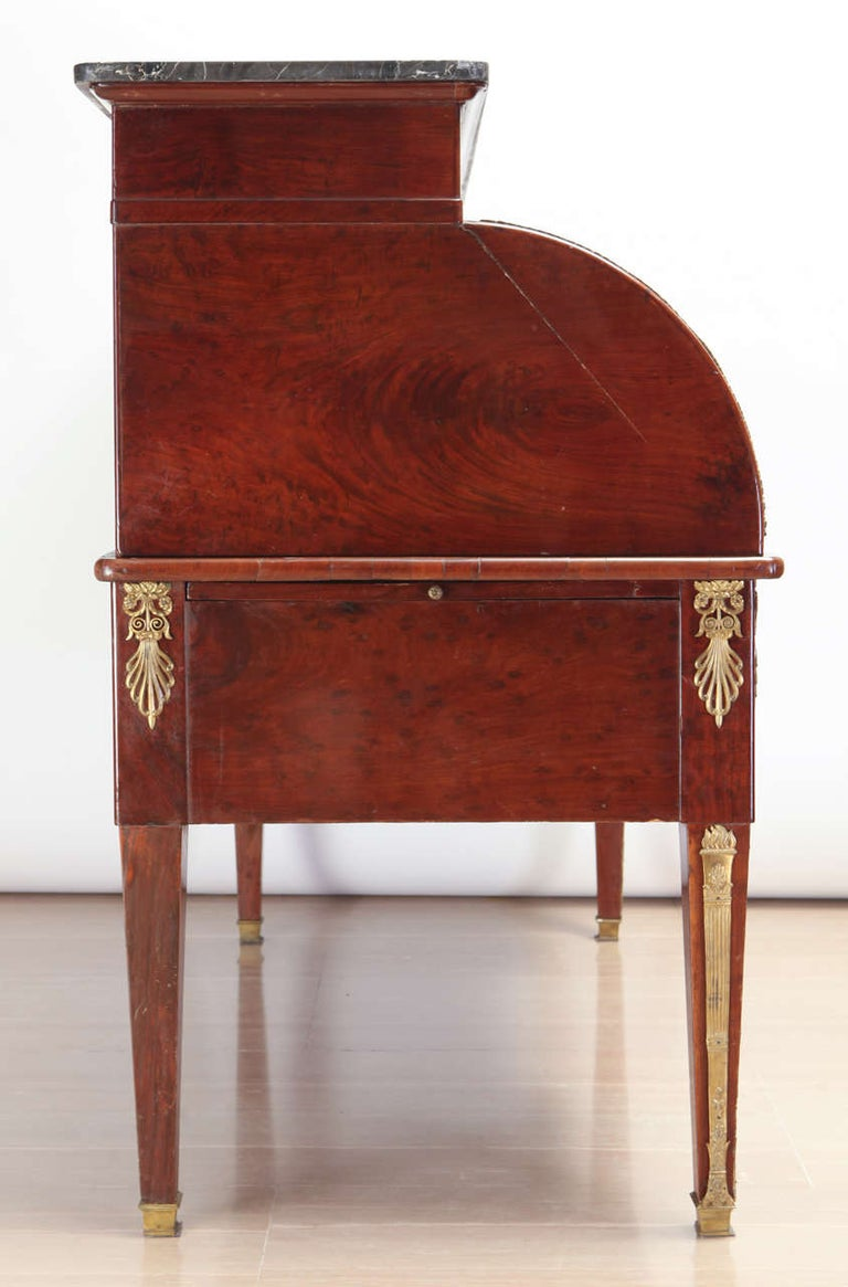 French Empire Mahogany Bureau à Cylindre Writing Table, circa 1810 For Sale 5