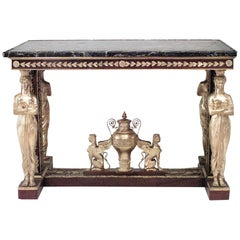 French Empire Revival Mahogany Center Table After Jacob-Desmalter