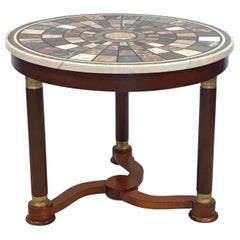 French Empire Mahogany Center Table with Stone Specimen Top, circa 1830