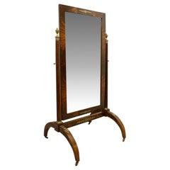 French Empire Mahogany Cheval Mirror