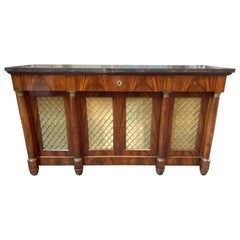 French Empire Mahogany Credenza with Black Belgian Marble Top