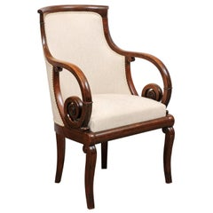 French Empire Mahogany Fauteuil, Early 19th Century