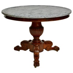 French Empire Mahogany Gueridon Table with a Grey Marble Top