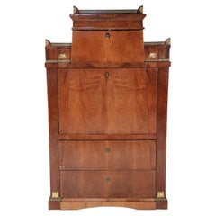 French Empire Mahogany Secretary with Mirrored Architectonic Interior Cabinet
