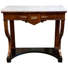 French Empire Mahogany Side Table with Ebony Base and Carrara Marble top