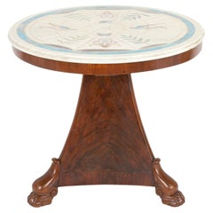 French Empire Mahogany Table with Rare Scagliola Marble Top