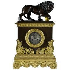 French Empire Mantel Clock Depicting Medici Lions