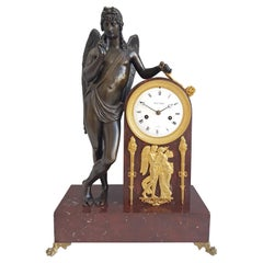 French Empire Mantel Clock in Ormolu, Patinated Bronze and Marble, Signed Picnot